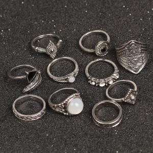 10 Pieces Faux Gem Embellished Vintage Rings - SILVER
