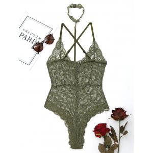 Lace Choker Criss Cross Sheer Teddy - ARMY GREEN L