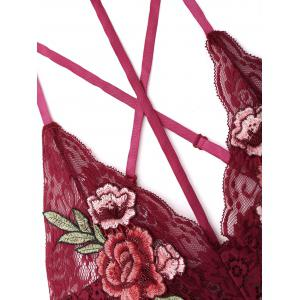 Lace Choker Flower Embroidered Teddy - WINE RED M