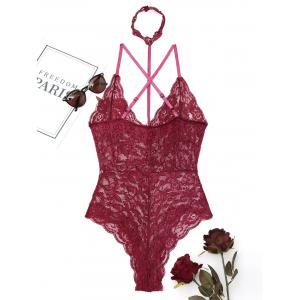 Lace Choker Flower Embroidered Teddy -