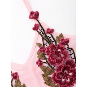 Spaghetti Strap Mesh Teddy with Embroidery - PINK S