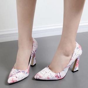 High Heel Floral Sequined Pumps - RED 39