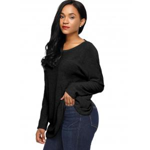 Dolman Sleeve Back Cut Out Twisted Tricots - Noir S