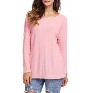 Dolman Sleeve Back Cut Out Twisted Tricots - ROSE PÂLE XL