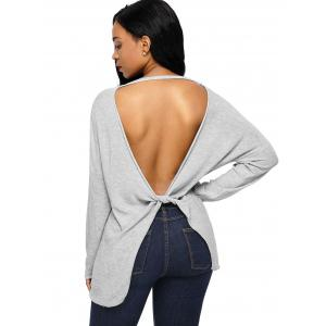 Dolman Sleeve Back Cut Out Twisted Tricots - Gris L