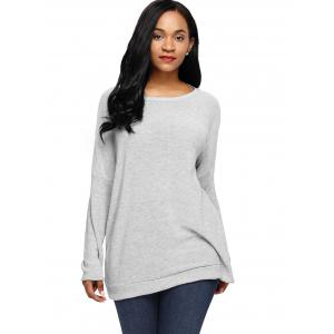 Dolman Sleeve Back Cut Out Twisted Tricots - Gris M