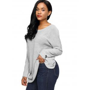 Dolman Sleeve Back Cut Out Twisted Tricots - Gris S
