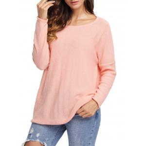 Dolman Sleeve Back Cut Out Twisted Tricots - Orange Rose L