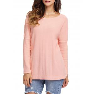 Dolman Sleeve Back Cut Out Twisted Tricots - Orange Rose S