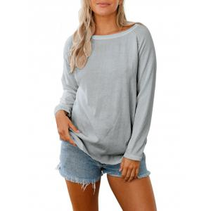 Back Cut Out Raglan Sleeve Knitwear - Gris S