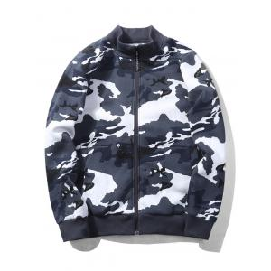 Camouflage Applique Fleece Zip Up Jacket - BLUE M