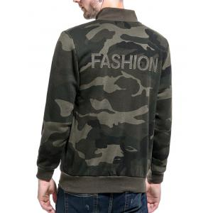Camouflage Applique Fleece Zip Up Jacket - ARMY GREEN 2XL