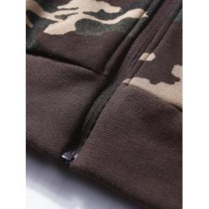 Camouflage Applique Fleece Zip Up Jacket - Kaki XL