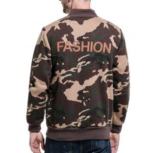 Camouflage Applique Fleece Zip Up Jacket - Kaki L