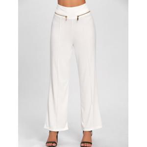 Metallic Zip Wide Leg High Waisted Pants - WHITE XL