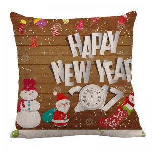 Father Christmas and Snowman Pattern Square Pillow Case -