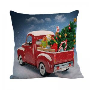 Home Decor Christmas Car Printed Pillow Case - COLORFUL W18 INCH * L18 INCH