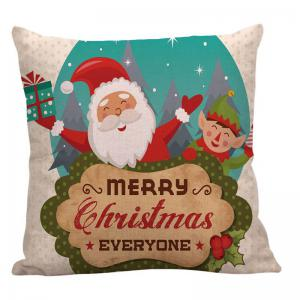 Happy Santa Claus Printed Linen Pillow Case - COLORFUL W18 INCH * L18 INCH