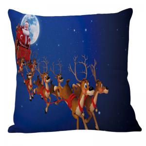 Christmas Carriage Elk Printed Linen Pillow Case - BLUE W18 INCH * L18 INCH