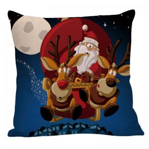 Christmas Cartoon Elk Pattern Linen Pillow Case - COLORFUL W18 INCH * L18 INCH