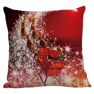 Christmas Carriage Pattern Linen Pillow Case - RED W18 INCH * L18 INCH