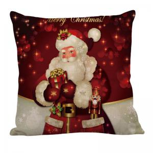 Santa Claus Pattern Square Pillow Case -