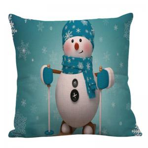 Christmas Snowman Pattern Square Pillow Case - LIGHT BLUE W18 INCH * L18 INCH