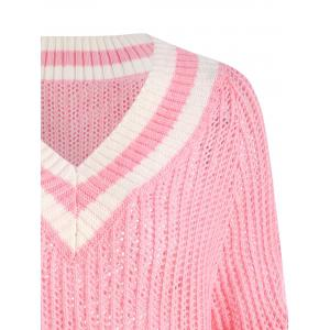 Chomky Knit High Low Plus Size Tennis Sweater - ROSE PÂLE 2XL