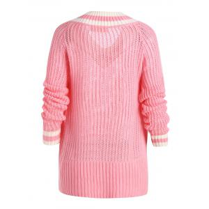 Chunky Knit High Low Plus Size Tennis Sweater - PINK 2XL
