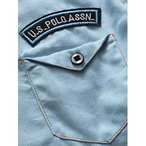 Chest Pocket Patch Design Shirt - Bleu clair 3XL