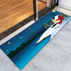 Antiskid Flannel Thin Christmas Snow Night Rug - BLUE W16 INCH * L47 INCH