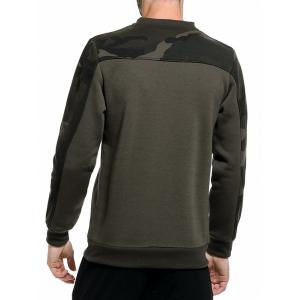 Camouflage Panel Fleece Pullover Sweatshirt - ARMY GREEN 2XL