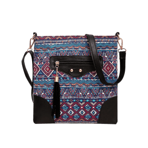Tassel Tribal Print Rivet Crossbody Bag -