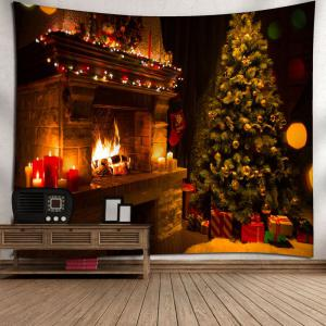 Colormix W59 Inch * L51 Inch Wall Art Christmas Tree Fireplace ...
