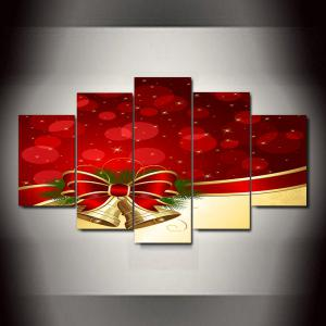 Christmas Bowknot Bells Print Unframed Split Canvas Paintings - RED 1PC:10*24,2PCS:10*16,2PCS:10*20 INCH( NO FRAME )