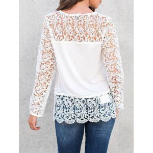 Long Sleeve T Shirt with Lace - WHITE S