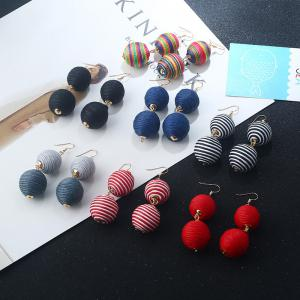Wax Rope Double Ball Hook Earrings - COLORMIX