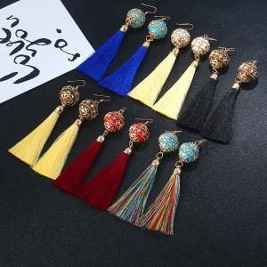 Vintage Rhinestone Tassel Ball Hook Earrings - BLACK