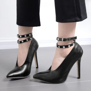 Point Toe Studded Ankle Strap Pumps - BLACK 40