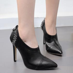 Studded Zip Back Ankle Boots - BLACK 35