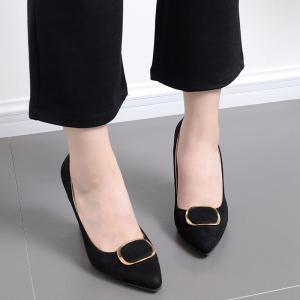Faux Suede Buckle-toe Pumps - BLACK 39