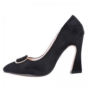 Faux Suede Buckle-toe Pumps - BLACK 40