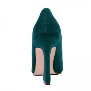 Faux Suede Buckle-toe Pumps - GREEN 38