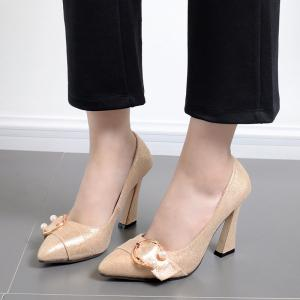 Faux Gem Metal Ring Glitter Pumps - GOLDEN 36