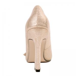 Faux Gem Metal Ring Glitter Pumps - GOLDEN 39
