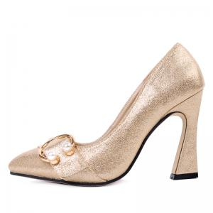 Faux Gem Metal Ring Glitter Pumps -