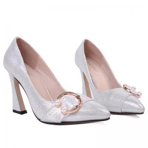 Faux Gem Metal Ring Glitter Pumps - SILVER 38