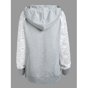 Lace Panel Raglan Sleeve Kangaroo Hoodie - LIGHT GRAY S