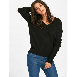 Cable Knitted Back Lace Up Sweater - BLACK ONE SIZE
