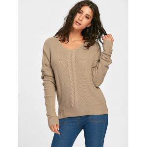 Cable Knitted Back Lace Up Sweater - COFFEE ONE SIZE